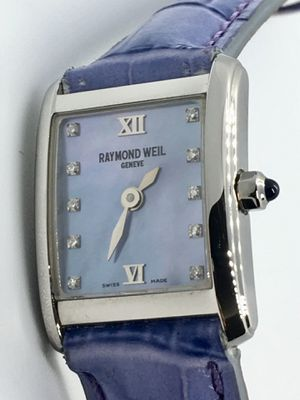 Brand new Raymond Weil Don Giovanni Woman's Watch Blue Mother of Pearl dial set with 10 Diamond hour markers.sapphire crystal.25X18mm. Stainless steel for Sale in Miami, FL
