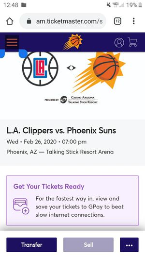 6 clippers vs suns tickets ....$15 each ticket for Sale in Phoenix, AZ