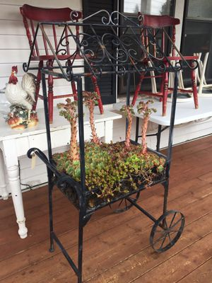 Iron cart with succulent plants for Sale in Tacoma, WA