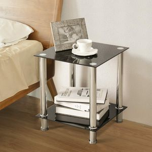 Square Black Table End Table Side Table Coffee Table Sofa Tempered Glass for Sale in Ontario, CA