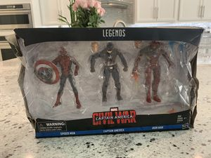 New Marvel Legends Captain America: Civil War 6-inch Figure 3-Pack Spider-Man Ironman for Sale in Las Vegas, NV