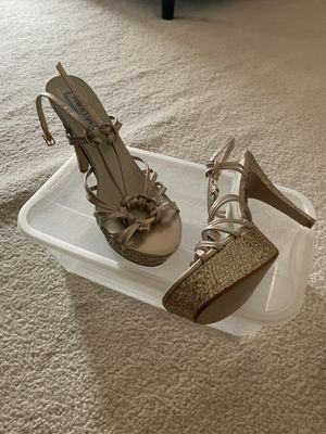 Touch ups never worn gold strappy heels for Sale in Darnestown, MD