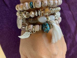 Agate Natural Stone Beads Bracelets For Women Wing Tassel Charm Bracelets & Bangles Set Boho Vintage Jewelry for Sale in West Covina, CA