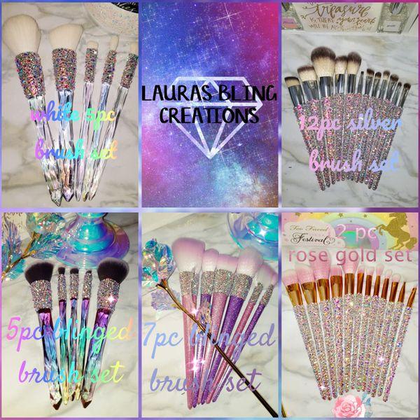 Blinged makeup brushes