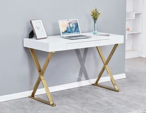 BA11 White with gold plating computer desk. for Sale in US