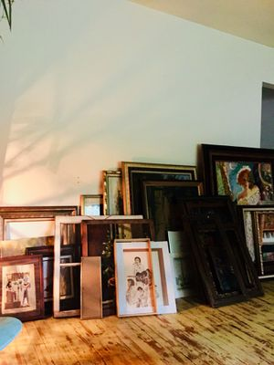 Vintage wooden frames and some random paintings for Sale in Detroit, MI