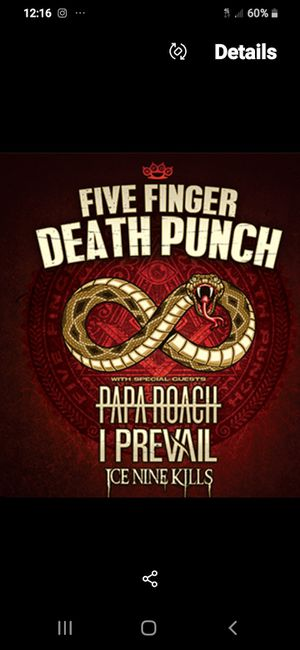 Five Finger Death Punch Meet and Greet concert tickets Sunrise Florida for Sale in Dunnellon, FL