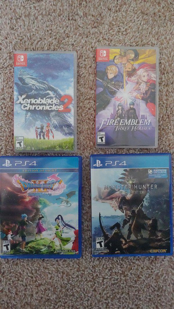 Fire emblem three houses , Xenoblade Chronicles 2 , dragon quest 11, monster Hunter world swap