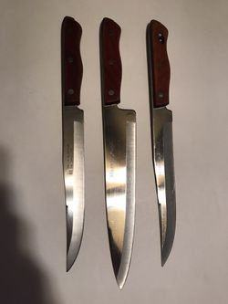 Vintage 3 Piece Maxam Steel Precision Hollow Ground Stainless Steel Kitchen Knife Set for Sale in San Angelo,  TX