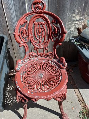 Antique Victorian cast Iron Chair and stool for Sale in Rancho Cordova, CA