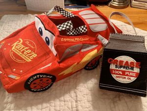 Pottery barn kids Disney Pixar lighting McQueen costume with gas oil can felt treat bag for Sale in Long Beach, CA
