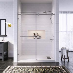 "60"" W x 76"" H Frameless One Stationary & One Sliding Shower Door, 3/8"" Clear Glass, Brushed Nickel Finish for Sale in Anaheim, CA"