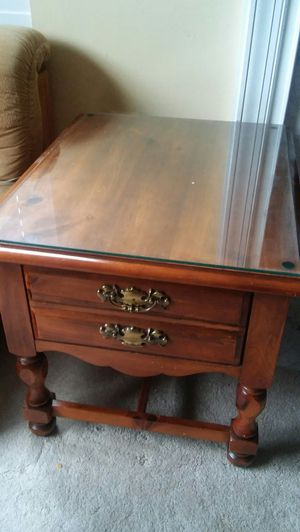 Solid Oak End table with drawer and top glass for Sale in Sterling, VA