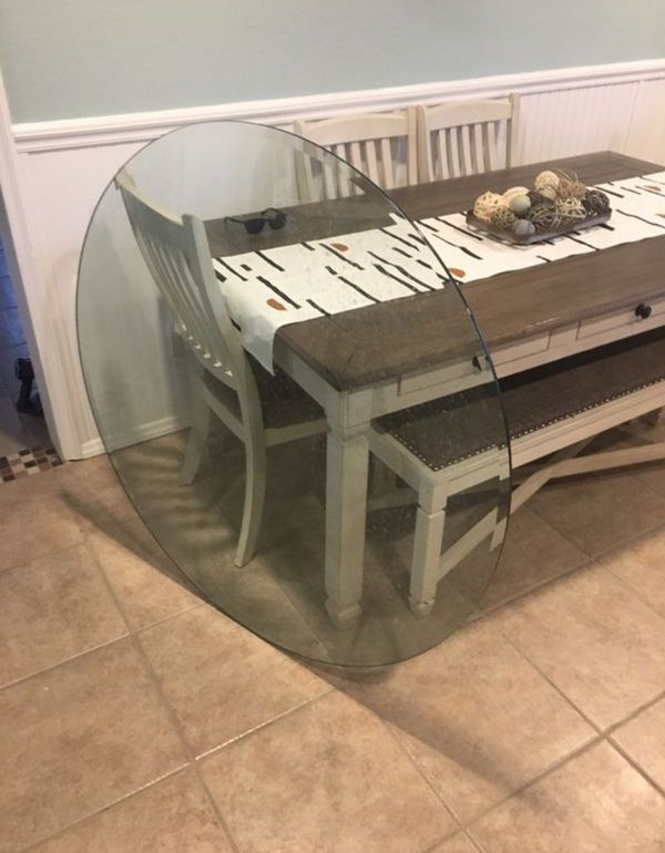 56 in round glass table top