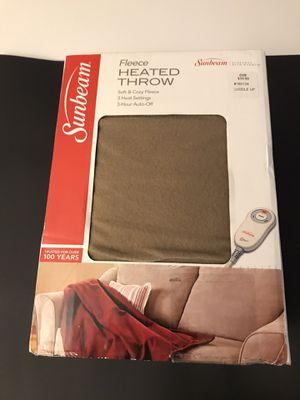 Sunbeam Electric Heated Electric Fleece Throw Blanket with 3 Heat Settings, Walnut for Sale in Santa Ana, CA