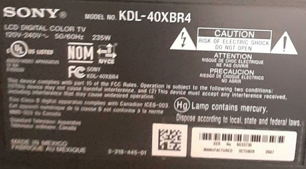 TV-Sony Bravia XBR 40 inch TV and Remote Control