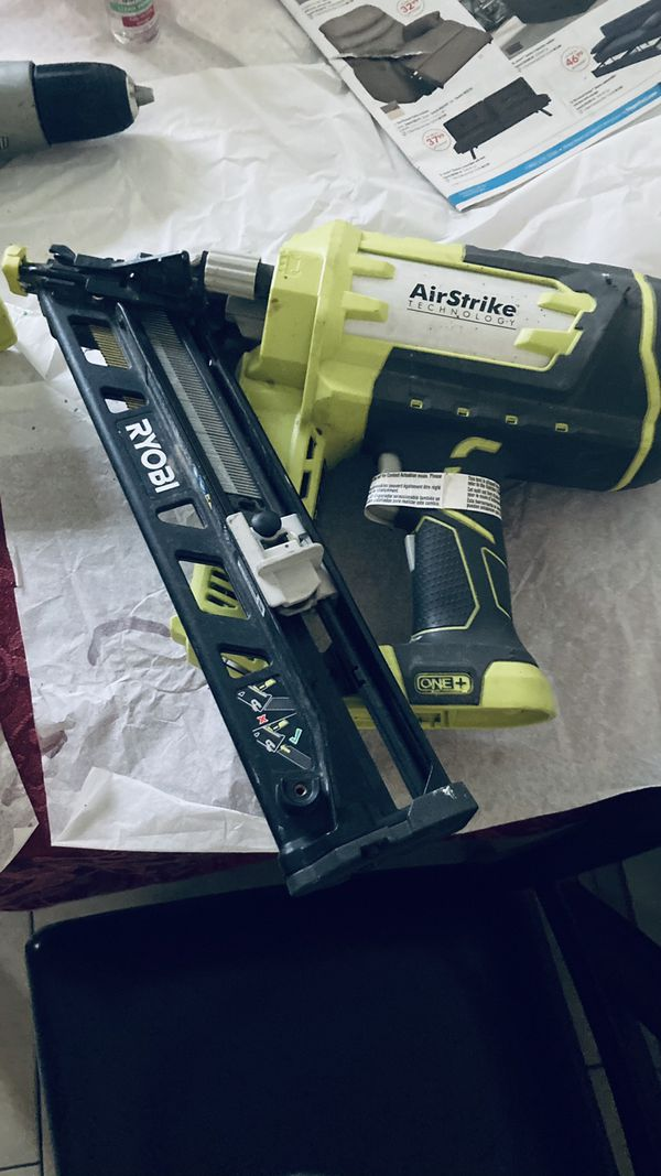 RYOBI Nail Gun -skill Saw And A Very Nice Antique Podium Style Kitchen Table