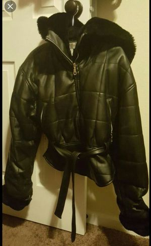 Black faux leather fur jacket Size S for Sale in Colorado Springs, CO