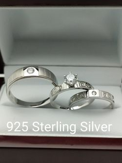 New with tag Solid 925 Sterling Silver HIS & HER WEDDING Ring trio Set size 11 and 8 $250 set OR BEST OFFER ** FREE DELIVERY!!! 📦🚚 ** for Sale in Phoenix,  AZ