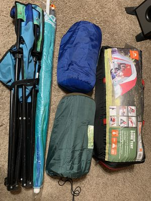 Camping gear (6 person tent, 2 sleeping bags, folding chair and umbrella ). MAKE ME OFFERS! for Sale in Greenbelt, MD