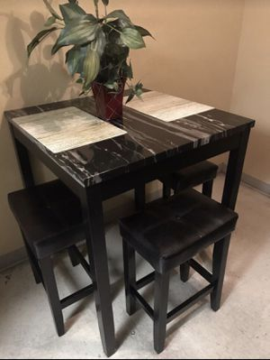 Black Wood Marble Top Dining Table for Sale in Parlier, CA