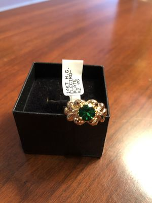 Bridal Jewelry 14K Gold Plate Genuine Emerald Genuine Diamond Ring Size 6 for Sale in Langhorne, PA
