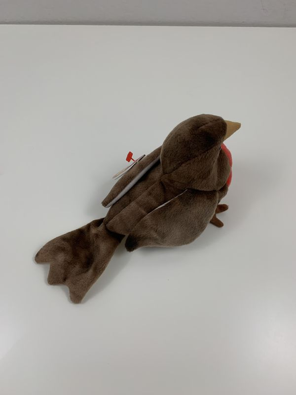 Vintage TY Beanie Baby EARLY Brown Robin Bird Plush