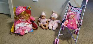 Girls toys bundle- 4 dolls, doll stroller, tea set for Sale in Danvers, MA