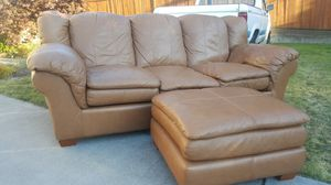 Genuine Leather Sofa Couch + Ottoman - Delivery Available for Sale in Seattle, WA