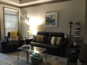 Moving sale-Leather double reclining sofa and recliner set for Sale in Atlanta, GA