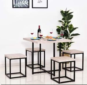 5 Piece Dining Table Chair Set with Stools Small Kitchen Furniture Seats Bar Wood Top Steel Legs for Sale in Hilldale, PA