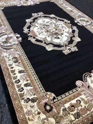New black rug size 8x11 nice beige and black carpet Persian design rugs for Sale in Woodbridge, VA