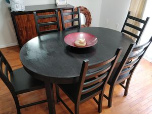 "Solid wood dining table for 6-4 people with 6 chairs in very good condition, pet free smoke free. L65""*W45.5""*H29"" for Sale in Annandale, VA"