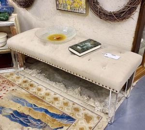 Stylish Upholstered Bench with Lucite Legs for Sale in Savannah, GA