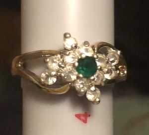 Small 14k gold ring, with an emerald and several diamonds for Sale in Eugene, OR