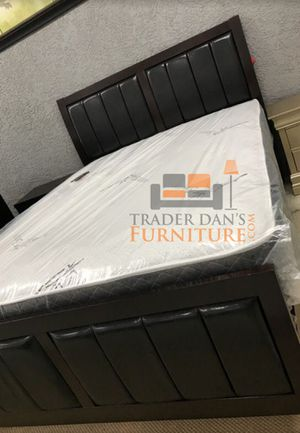 Brand New Queen Size Wood/Leather Bed Frame ONLY for Sale in Silver Spring, MD