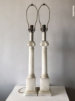 BEAUTIFUL ALABASTER MARBLE COLUMN LAMPS 1950 VINTAGE ITALIAN MODERN ART NOUVEAU for Sale in Pasadena, CA