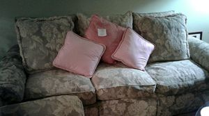Very pretty 4pc- Sofa, Loveseat. Chair and Ottoman, decorative pillows included. for Sale in Silver Spring, MD