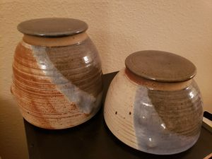Pair of ceramic stoneware pottery jars for Sale in Daly City, CA