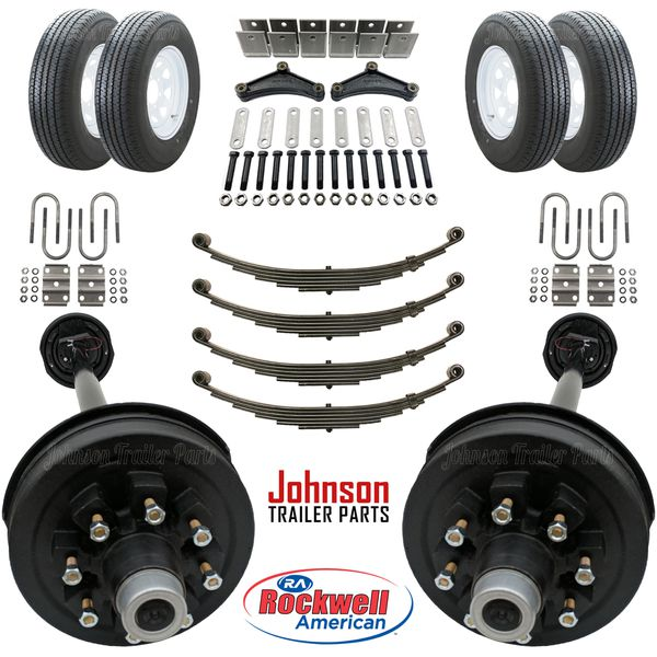 Trailer Parts Kit - Tandem 7,000 lb Electric Brake Axle Kit w/ Wheels & Tires -We carry all trailer parts, trailer axles,trailer tires, trailer repair