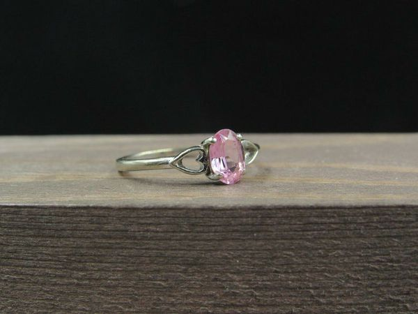 Size 7 10K Gold Hearts Pink Sapphire Band Ring Vintage Estate Wedding Engagement Anniversary Gift Idea Beautiful Elegant Unique Cute