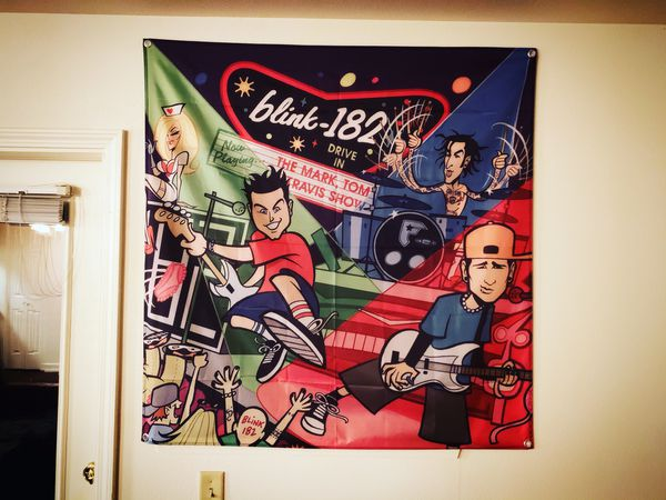 BLINK-182 - MARK TOM AND TRAVIS SHOW ALBUM ART BANNER (Very Rare)