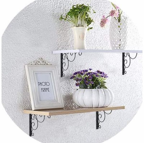 Wall shelves with brackets (set of 2)—045