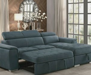 🎊$39 Down Payment 🌟Ferriday Blue Storage Sleeper Sectional by Homelegance for Sale in Philadelphia,  PA