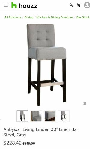 "New Abnyson Living Linden 30"" Linen Bar Stool in Grey for Sale in Hilliard, OH"