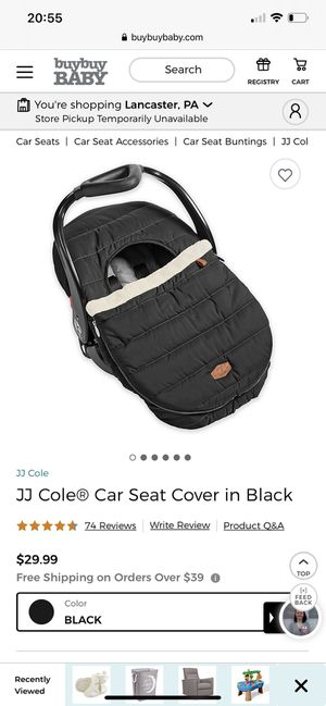 JJ Cole Car Seat Cover In Black for Sale in Lancaster, PA