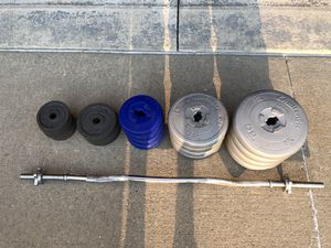 Weights and curl bar for Sale in Sterling Heights, MI