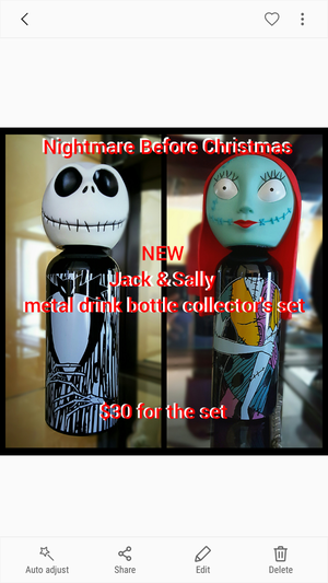 Nightmare Before Christmas Jack and Sally collector drink bottles for Sale in Cross Hill, SC