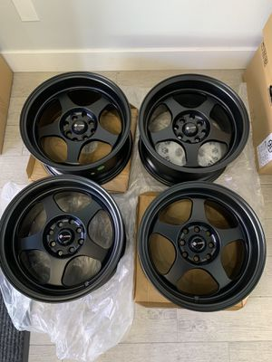 """New Spoon Style Black 15x8"""" Rims Set of 4 Brand 4x100 Wheels for Sale in Monterey Park, CA"""