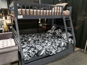 No credit gray color twin full bunk bed with mattresses and under storage for Sale in College Park, MD